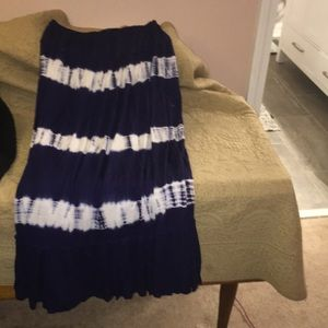 Navy cotton skirt with elastic waist L